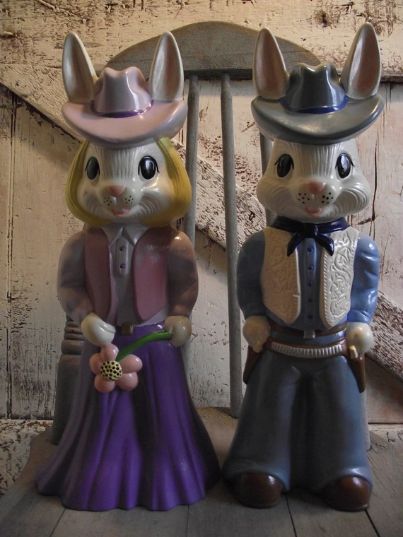 Vintage Bunny Rabbit Mr And Mrs Cowboy By Lititzcarriagehouse