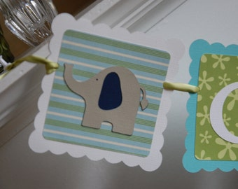 Elephant Name Banner, Elephant Baby Shower, Elephant Decorations, Elephant Birthday, Nursery,