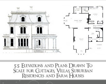 Architectural plans etsy victorian architectural plans 55 elevations and plans for cottages villas residences malvernweather Image collections