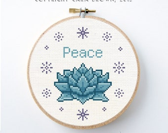 Lotus Flower Cross Stitch Pattern Peace Instant Download Needlepoint project