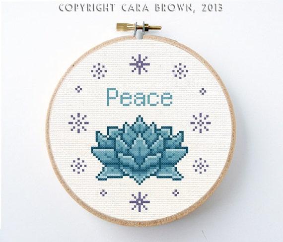 Lotus Cross Stitch Pattern Cross Stitch Pattern Peace