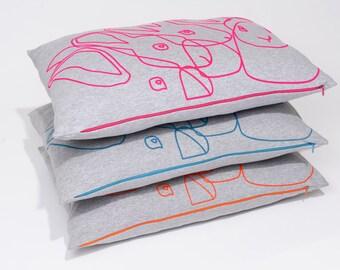 Neon Rabbit Pillow Cover, 60x40 cm.