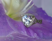 Herkimer Diamond and 14K White Gold Diamond Trillion Cut Ring Halo of Diamonds
