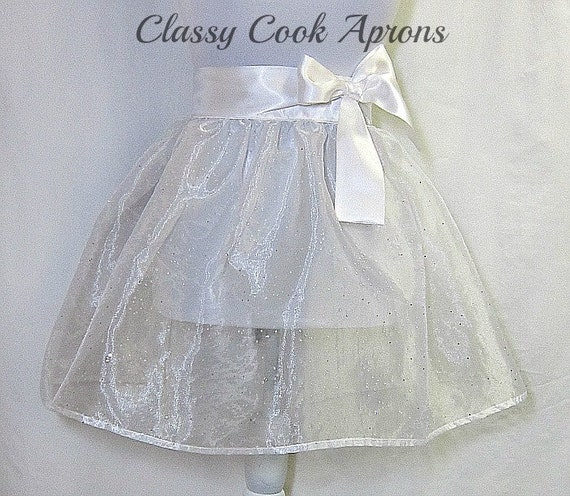 Half Apron BRIDAL White SPARKLE Organza, Silver Sequins, COUTURE Wedding, Pretty Party Hostess Gift