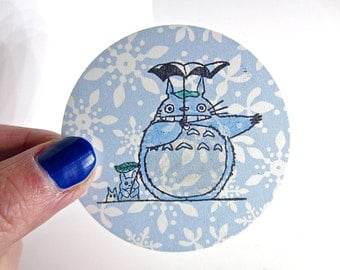 Totoro & Friends Inspired Rubber Stamp on Flat Wood Mount Large Chibi Chu Totoro O014