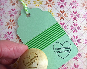 Handmade with Love Stamp Heart Shape Small Stamp for gift tags, back of handmade cards, business owners C010