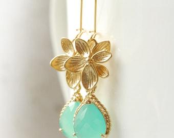 Bridesmaid Gifts Bridal Jewelry Mint Aqua Gold Earrings Lotus Dangle Earrings Drop Earrings Jewelry Bridesmaid Set LimonBijoux