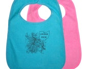 TerryCloth Bib with 1916 Akron Ohio Map Design (Teal Blue or Pink)