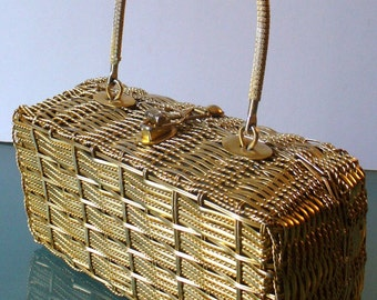 Vintage Simon Gold Wire Lunchbox Style Purse