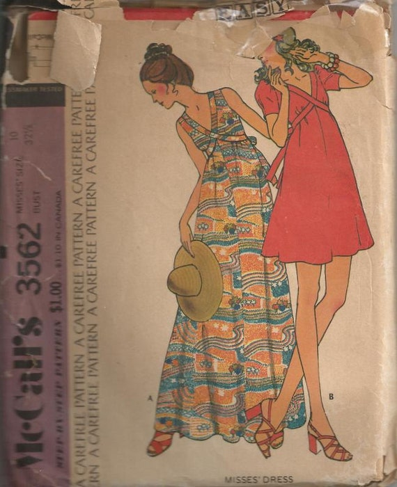 1973 Misses Dress Maxi or Mini McCalls 3562 Size 10 Bust 32 1/2 Vintage Sewing Pattern EASY