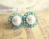 Pearl Earrings Stud Turquoise Post Vintage Lace Filigree Blue White Wedding Bridal Jewelry Bridesmaids Earrings Dreamy Misty Soft
