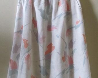 80s Pastel Abstract-Print Skirt S M 26 Waist