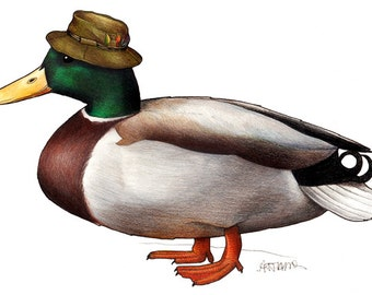 Mallard in a Fisherman's Hat: A4 Print