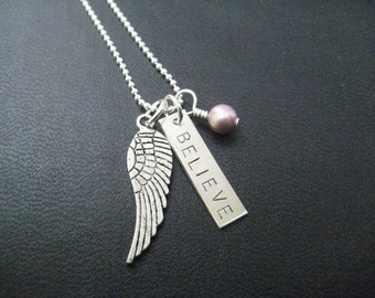 I BELIEVE Sterling Silver Necklace with Swarovski Pearl or Crystal Necklace - 16, 18 or 20 inch Sterling Chain - Angel Wing Necklace - Fly