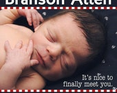 Little Sailor Nautical Navy Baby Boy Photo Birth Announcement -- Digital File, You Print OR I Print