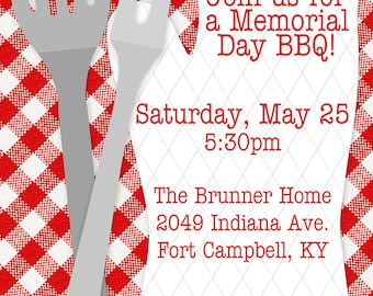 Summer BBQ Barbecue Cookout Invitation - You Print OR I Print