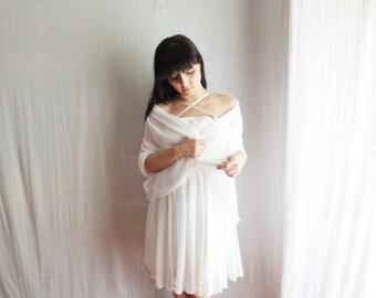 Silk chiffon bridal shawl, Wedding scarf, Ivory chiffon scarf, Wedding shrug, Wedding stole, Bridal shawl, Silk scarf, White scarf