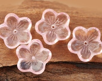 Large Pink flowers czech glass beads, five petals, flat, Pink transparent - 16mm - 10Pc - 0621