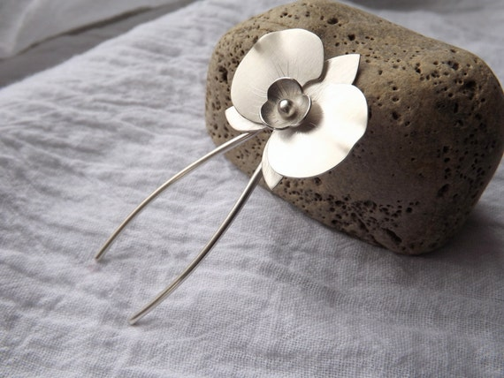Orchid Hair Stick Handcrafted in Argentium Silver - Limited Edition - Gift for Her