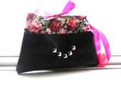floral faux leather clutch bag with silver studs spring/ summer collection make up pouch made to order