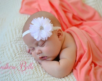 Baby headband, infant headband, newborn headband - white chiffon scalloped ruffle flower and rhinestone center headband