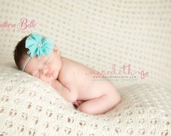 aqua baby headband, infant headband, newborn headband - AQUA shabby chiffon ruffle flower and rhinestone headband