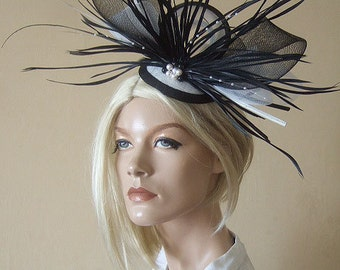 Black & White Ostrich Quills Swarovski Pearls Feathered Fascinator Hatinator - Ascot Hat Mother of the Bride Wedding Guest for the Races