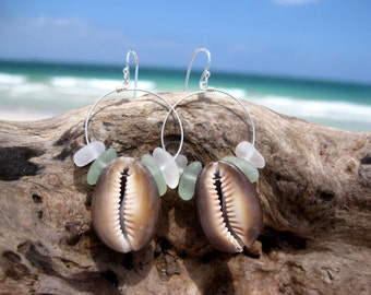 Hawaiian Tiger Cowry Shells with Aqua & Clear Beach Glass on 925 Sterling Silver Circular Wire Small Hoop Earrings