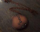 Big Dipper Ursa Major Constellation Pendant: Mixed Metal Necklace