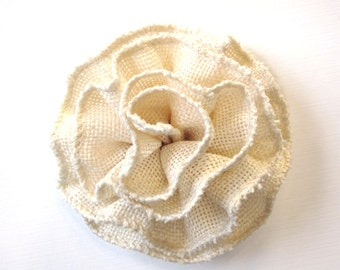 Ivory Burlap Flower - Natural Fabric Flower Hair Clip, Brooch, or Pin