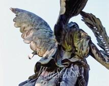 Flight, Angel, Wings, Feather, Robe, Sunlight, Cemetery, Headstone, Statue, Sky, Louisville Kentucky, Photography
