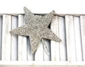 lucky star hair pin / silver german glass star bobby pin /  large glitter hair accessory