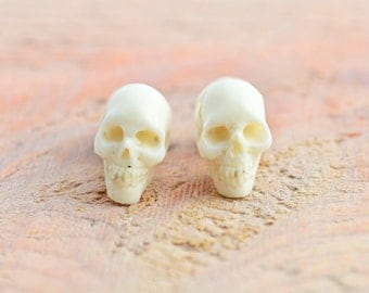 Skull Handmade White Bone Fake Plugs Earrings Tribal Fake Gauge Earrings - Gauges Plugs Bone Horn - FP003 B G1