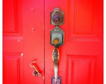 Red church door square color photograph gold unique door knob