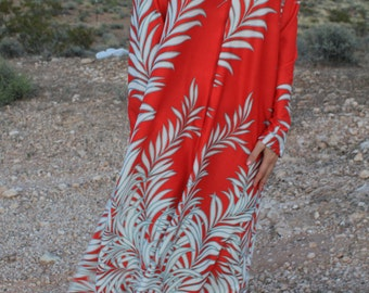 Tropic Thunder - Retro 70s Vintage Flame Red Muumuu Dress, Palm Trees Zip-up Cover-up