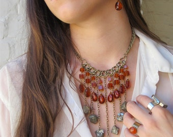 """Pyrite and Carnelian Crystal-  Statement Necklace-Mineral Necklace-Choker """"Urban- Tribal"""" -Wearable Art, by Pauletta Brooks"""