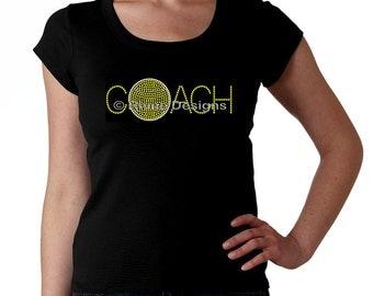 Tennis Coach RHINESTONE t-shirt tank top sweatshirt S M L XL 2XL - Bling Ball Sports Sport