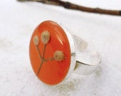 Pressed Flower Ring - Mini herbarium - pressed flower jewelry for nature lovers