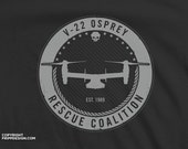 "V22 Osprey Navy / Marines Aircraft ""Rescue Coalition"" - Organic Cotton T Shirt"