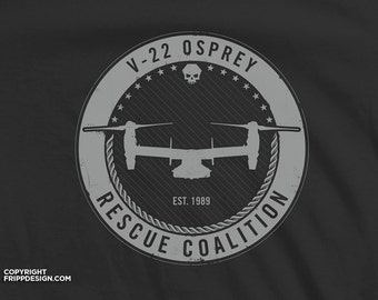 "SALE! V22 Osprey Navy / Marines Aircraft ""Rescue Coalition"" - Organic Cotton T Shirt"