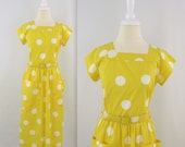 On Sale Vintage 1980s Polka Dot Dress in Yellow and White -  Small by Jandabar As Seen in Thrifty Hunter Magazine