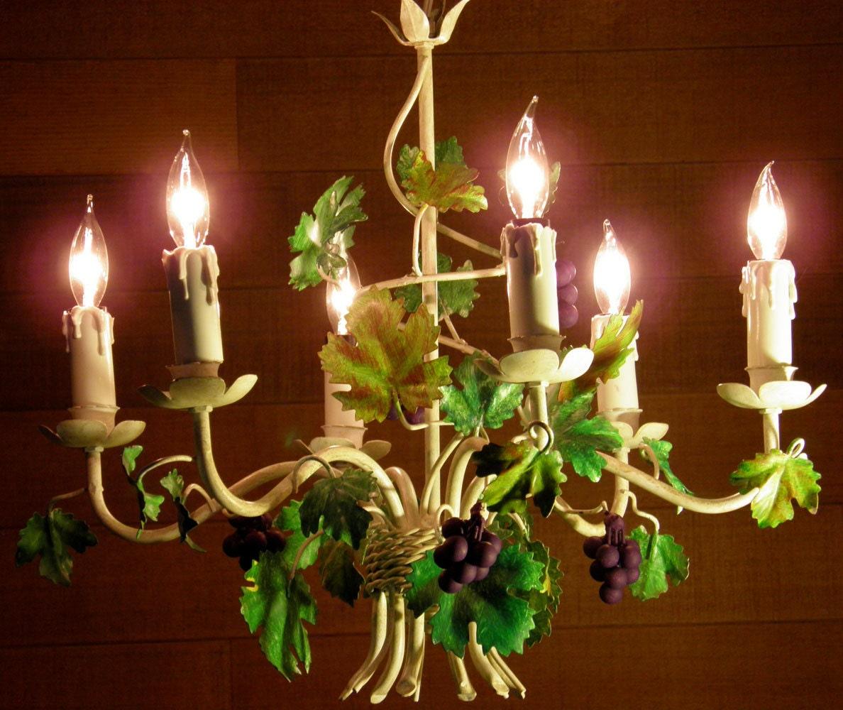 Outdoor Hanging Grape Lights: Vintage Chandelier Tole Chandelier Grape Chandelier 6 Lights