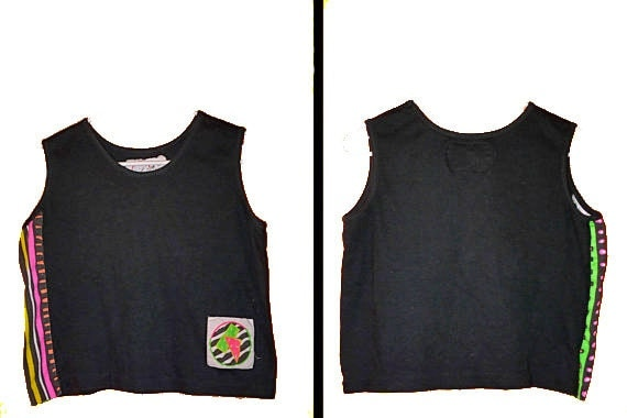1980s cropped grunge ozone TANK top in black and neon size small / medium