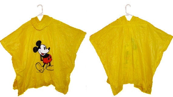MICKEY Rain Poncho 1980s Disney Hooded Side Snaps Cape Slicker