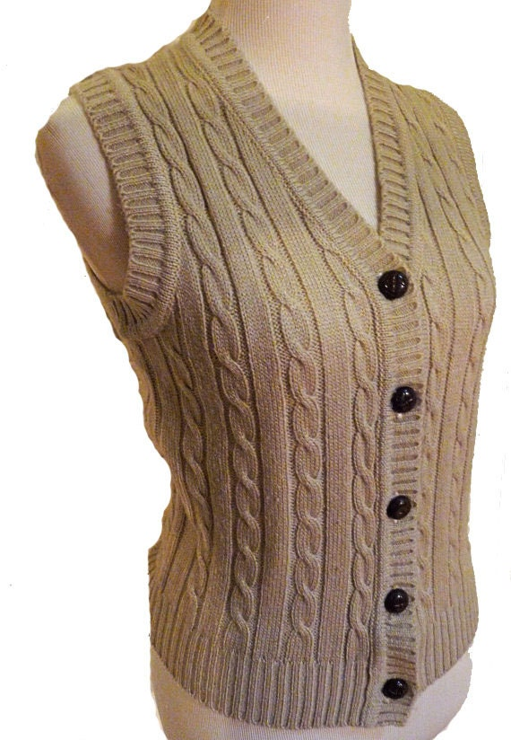 1970s button up sweater VEST by between stops size small / medium in taupe