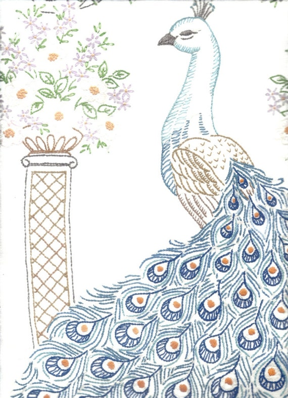 Intricately Hand Embroidered Peacock Panel With Pattern