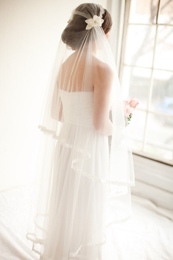 Bridal Cap Veil with Lace and Silk Flowers, Juliet Cap Bridal Veil - Camilla MADE TO ORDER- Style 8313