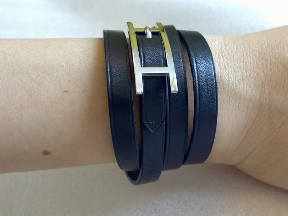 hermes fake - Hermes hapi silvertone black leather wrap bracelet by tonytheplane