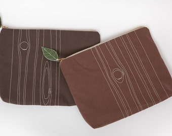 "Eco-friendly clutch / pouch with metal zipper and ""faux bois"" / wood grain embroidery - made from reclaimed / hemp fabrics - chocolate brown"