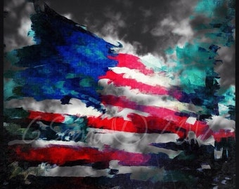 "10"" x 10"" American Flag Abstract Photograph"